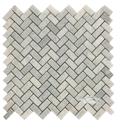 "Ming Green Marble Mini Herringbone: 1-1/4'' x 5/8"" Tumbled Mosaic"