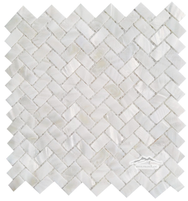"Herringbone 1-1/4"" x 5/8"" Mother of Pearl (Shell) Mosaic Polished"