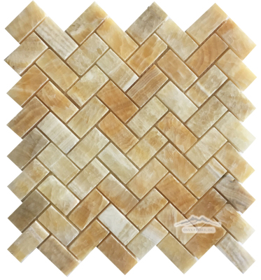 "Golden Honey Onyx Herringbone 1"" x 2"" Polished Mosaic"