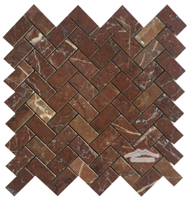 """Maroon Marble Herringbone: 1"""" x 2"""" Mosaic Polished"""