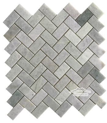 "Ming Green Marble Herringbone: 1"" x 2"" Polished Mosaic Polished"