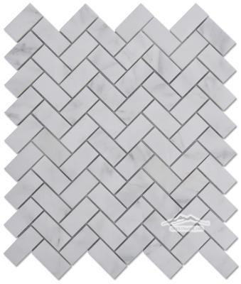 "White Statuary Calacatta Marble Herringbone 1"" x 2"" Mosaic Polished"