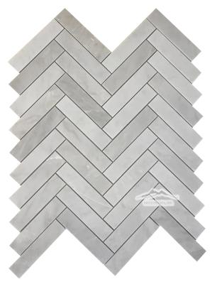 """Herringbone 1"""" x 4"""" Silver Pearl Marble Mosaic Polished"""
