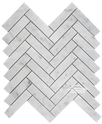 "Herringbone 1"" x 4"" White Carrara Venatino Marble Mosaic Honed"