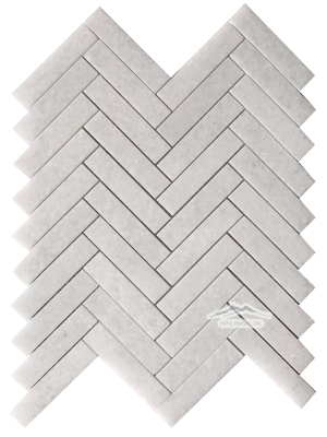 "Herringbone 1"" x 4"" White Crystalline Marble Mosaic Polished"