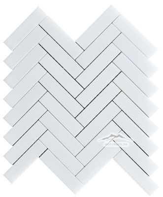 "Herringbone 1"" x 4"" White Silk Marble Mosaic Polished"