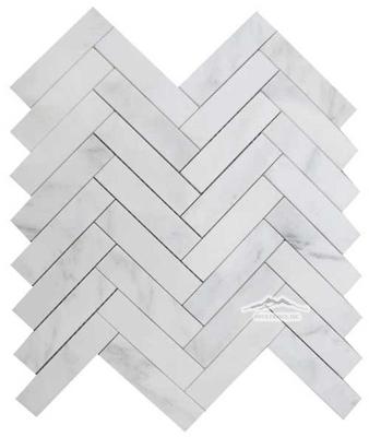 "White Statuary Calacatta Marble Herringbone 1"" x 4"" Mosaic Polished"