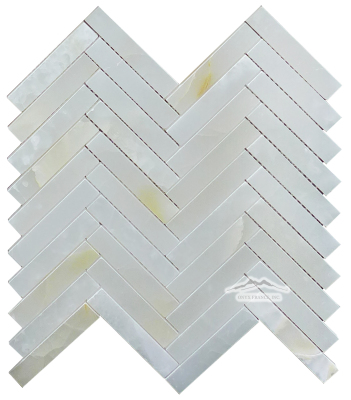 "Herringbone 3/4"" x 4"" White Persian Cloud PREMIUM Onyx Mosaic Polished"