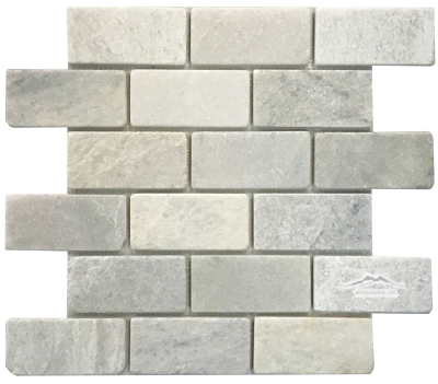 "Ming Green Marble 2"" x 4"" Tumbled Mosaic"
