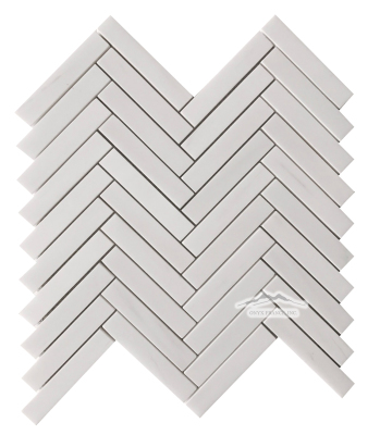 "White Elegant SELECT Herringbone: 3/4"" x 4"" Mosaic Polished"