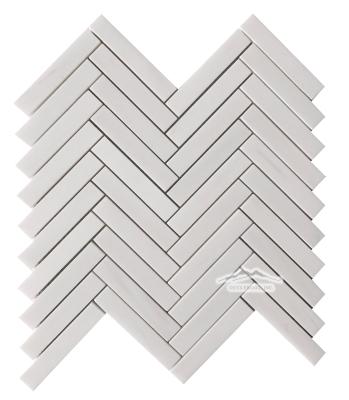 """Herringbone 3/4"""" x 4"""" White Elegant Marble Mosaic Polished"""