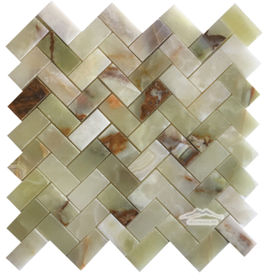 "Green Persian Pistachio Onyx Herringbone 1"" x 2"" Mosaic Polished"