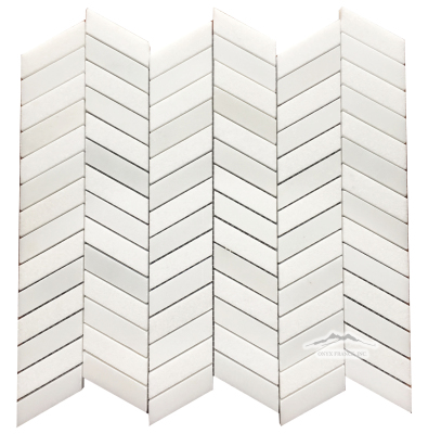 "Offset Chevron: 5/8"" x 2.25"" White Thassos and White Silk Mosaic Polished"