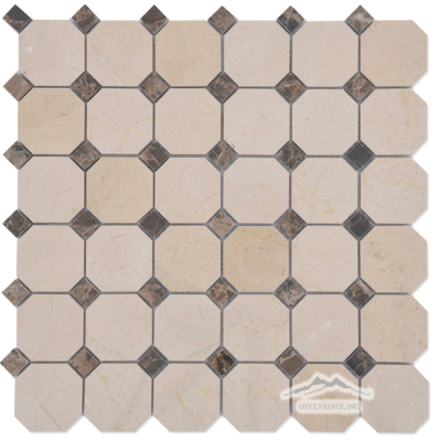"2"" x 2"" Octagon: Cream Marfil w/ 5/8"" Brown Emperador Dark Marble Dots Polished"