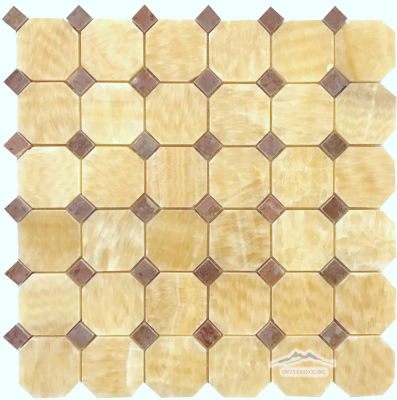 "<p style=""font-size: 18px;"">Octagon Golden Honey Onyx 2"" x 2"" with 5/8"" Maroon Dot Polished Mosaic"
