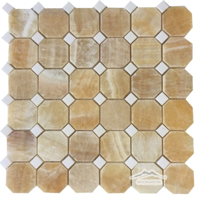 "2"" x 2"" Octagon: Golden Honey Onyx w/ 5/8"" White Thassos Marble Dots Polished"