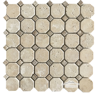 "Pearl Travertine 2"" x 2"" Octagon w/ 5/8"" Noce Dot Tumbled"