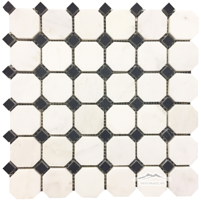 "White Statuary Calacatta Marble Octagon 2"" x 2"" with 5/8"" Black Velvet Dot Mosaic: Polished & Honed"