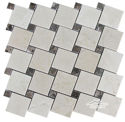 "2"" x 2"" Off-Set: Cream Marfil with 5/8'' Brown Emperador Dark Marble Dots Polished"