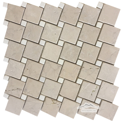 "2"" x 2"" Off-Set: Cream Marfil with 5/8'' White Thassos Marble Dots Tumbled"