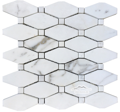 "Oblong Octagon Mosaic: Calacatta Gold with 5/8"" Calacatta Gold Dot Polished"