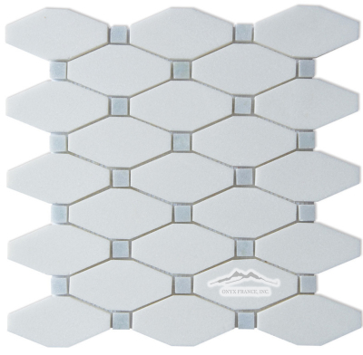 "Oblong Octagon: White Thassos  with 5/8"" Blue Celeste Quartzite Dot Polished"