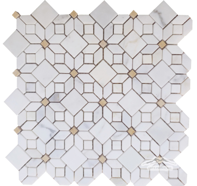 "Jasmin Flower 1. Mosaic: Calacatta Gold Marble with 3/4"" Jerusalem Gold Dot Polished"