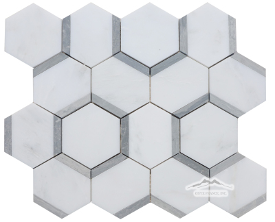"Honeycomb 3"" Hexagon 1. White Statuary Calacatta Marble with Blue Stratta Limestone Honed"