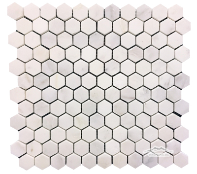 "White Statuary Calacatta Marble Hexagon 1"" Mosaic: Honed & Polished"