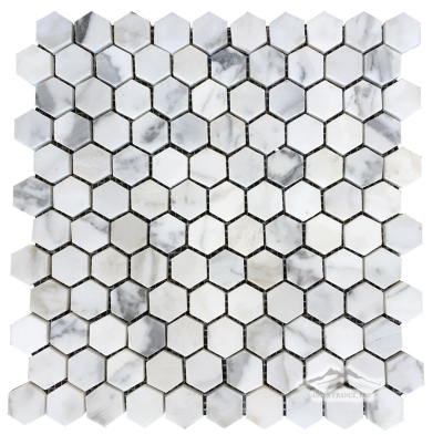 "Calacatta Gold Marble 1"" Hexagon Mosaic Polished"