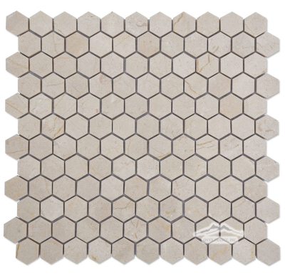 "Hexagon 1"" Cream Marfil Marble Mosaic Polished"