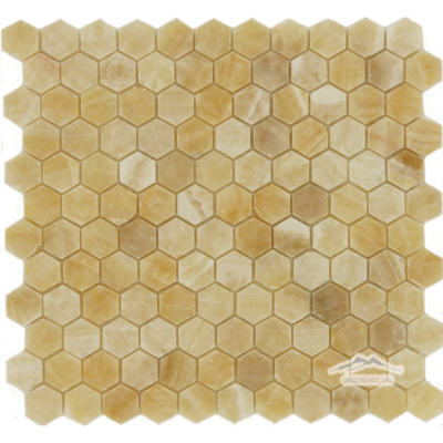 "Hexagon 1"" Golden Honey Onyx Mosaic Polished"