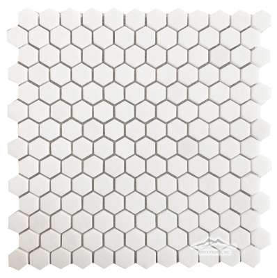 "Hexagon 1"" White Thassos Marble Mosaic Polished"