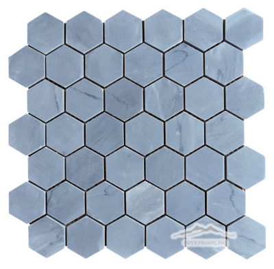 "Hexagon 2"" Bardiglio Marble Mosaic Honed"