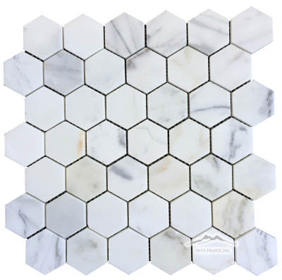 "Hexagon 2"" Calacatta Gold Marble Mosaic Honed"