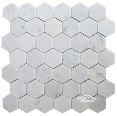 "Hexagon 2"" White Carrara Venatino Marble Mosaic Honed"