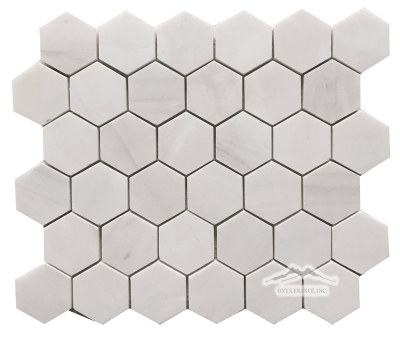 "Hexagon 2"" White Elegant Marble Mosaic Polished & Honed"