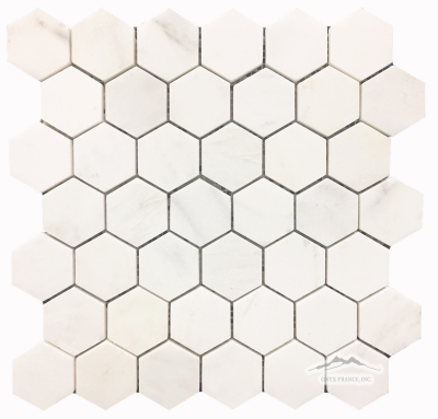 "White Statuary Calacatta Marble Hexagon 2"" Mosaic: Honed & Polished"
