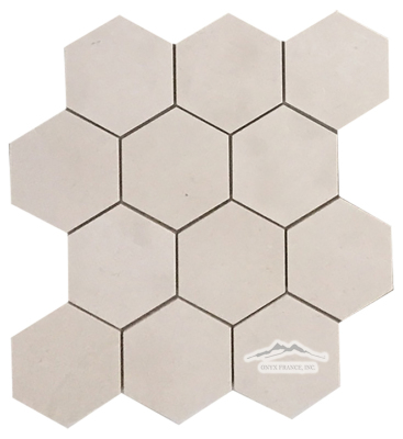"Hexagon 4"" Crema Lyon Limestone Mosaic Honed  (.60 SF/SHT)"