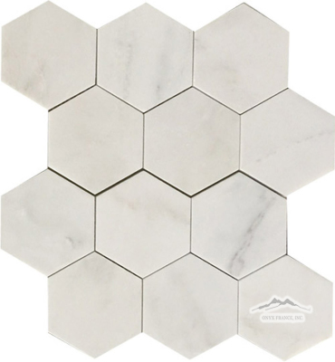 "Hexagon 4n"" {3.5"" x 3.5""} White Statuary Calacatta Marble Mosaic Honed"
