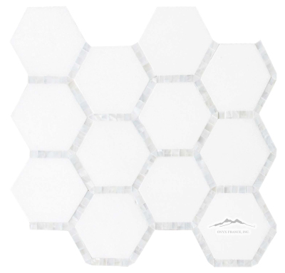 "White Thassos Hexagon 3-3/8"" x 3-3/8"" w/ 3/8"" Mother of Pearl Mosaic"
