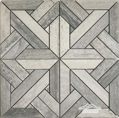 Parquet 1. Blue Stratta Limestone Mosaic Honed