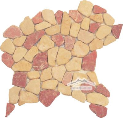 Riverstone Mosaic: Renaissance Bronze Limestone & Rojo Alacante Marble Tumbled