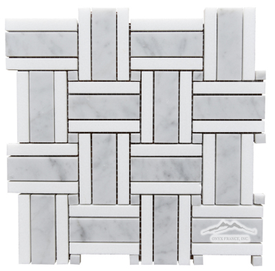 "Royal Basketweave 1. White Carrara Venatino 1 x 3""  w/ White Thassos 1/2 x 3"" outer bars & White Carrara Venatino 3/8"" Dot Polished Mosaic"