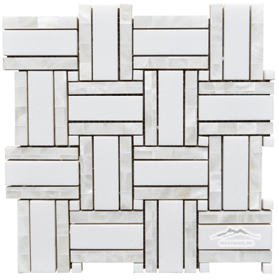 "Royal Basketweave 3. White Thassos 1 x 3"" w/ Mother of Pearl 1/2 x 3"" outer bars & White Thassos 3/8"" dot Polished Mosaic"