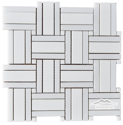 "Royal Basketweave 2. White Thassos 1 x 3"" w/ White Silk 1/2 x 3"" outer bars, & White Thassos 3/8"" Dot Polished Mosaic"