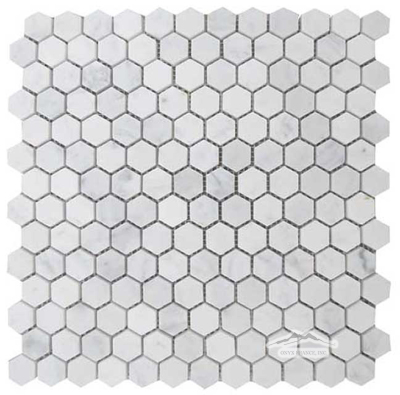 "Hexagon 1"" White Carrara Venatino Marble Mosaic Available in Polished & Honed"