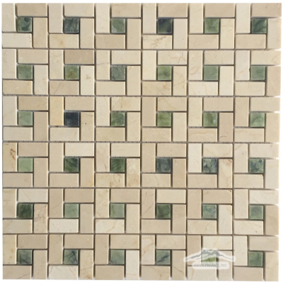 "Pinwheel Mosaic:1-1/4"" Cream Marfil with 5/8"" Green Olivine Dot Polished"