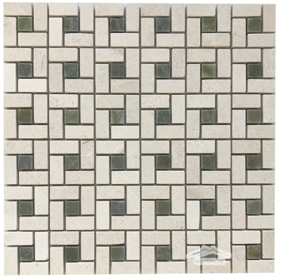 "Pinwheel: Crema Lyon 1-1/4"" Honed with 5/8"" Polished Verde Laguna Dot Mosaic"