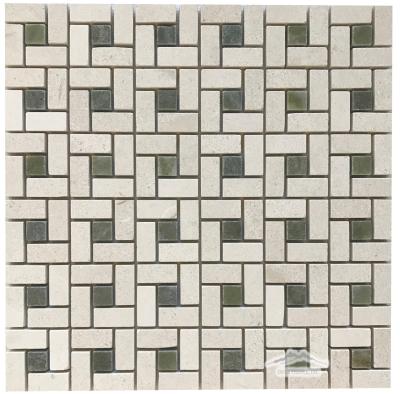 "Pinwheel: Crema Lyon Limestone 1-1/4"" with 5/8"" Verde Laguna Marble Dot"